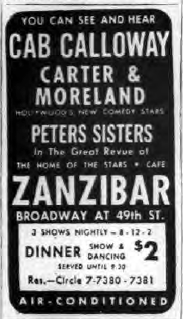 1946 0827 NY Post Zanzibar ad Calloway Peters Sister Carter Moreland.png