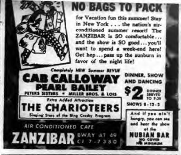 1946 0702 NY Evening Post Zanzibar Ad Cab Pearl Bailey No Bags to Pack.png