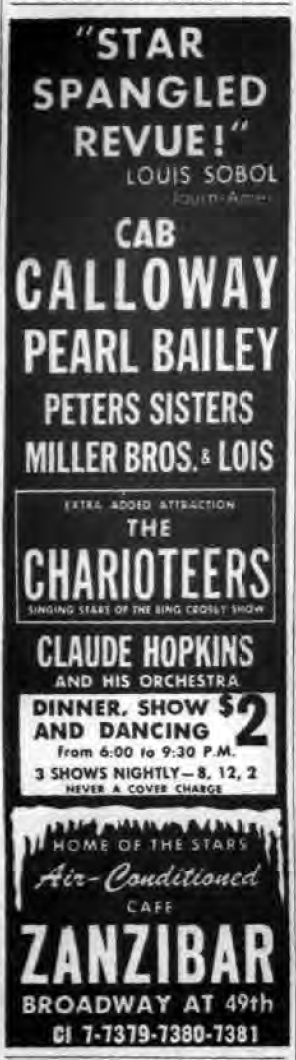 1946 0709 NY Post Zanibar ad Cab Calloway Pearl Bailey Charioteers Hopkins.png