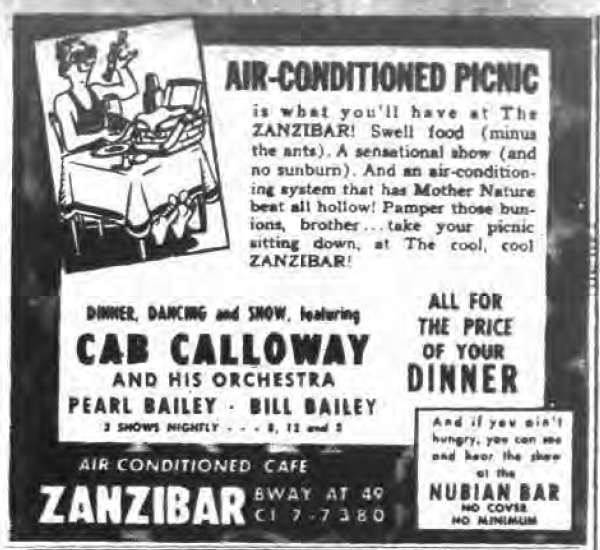 1945 0803 NY EVening Post Zanzibar ad Cab Nubian Bar Air conditioned Picnic.png