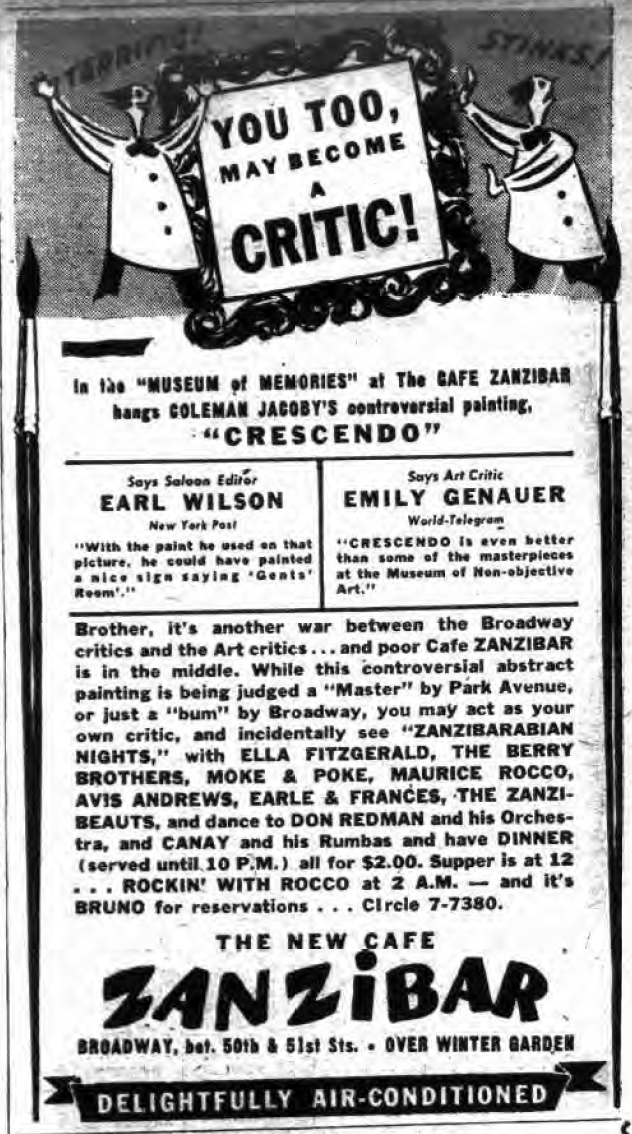 1943 0801 NY Post New Cafe Zanzibar ad become a critic.png