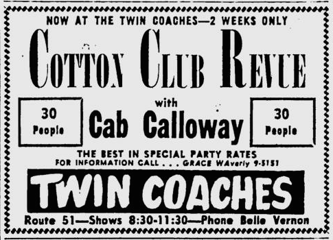 1960 0418 Pittsburgh Post Gazette Cotton Club REvue at Twin Coaches AD.png
