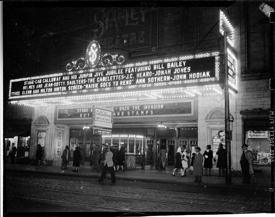 Dotty Saulters's name in lights at Pittsburgh's Stanley, 1944 ca