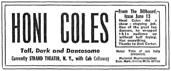 1942 Honi COLES pub dans Billboard.jpg