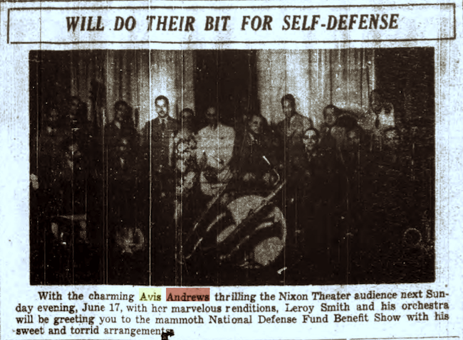 1934 0609 PIttsburgh Courier - Avis with Leroy SMITH ork - PHOTO.png